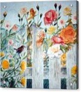 Carolina Wren And Roses Acrylic Print