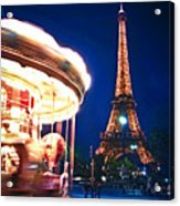 Carousel And Eiffel Tower Acrylic Print by Elena Elisseeva