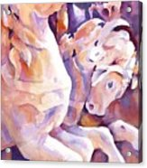 Carousel Horses Acrylic Print by Joan  Jones