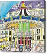 Carousel Paris Illustration Hand Drawn Acrylic Print
