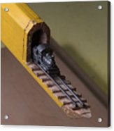 Carpenter Pencil Carved Into A Train By Cindy Chinn Acrylic Print