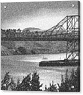 Carquinez Bridge Pointilized B And W Acrylic Print