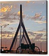 Cars On The Move- Lenny Zakim Bridge Sunset Acrylic Print