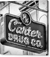 Carter Drug Co - Bw Acrylic Print