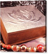 Carved Box In Aluminum. Silver Box And Red Necklace Acrylic Print
