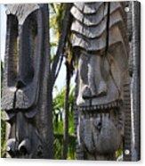 Carved Statues At Puuhonua O Honaunau National Historical Park Acrylic Print