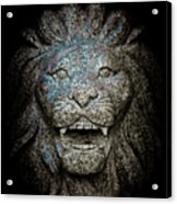 Carved Stone Lion's Head Acrylic Print