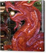 Carved Wood Dragon With Ball In Mouth Acrylic Print