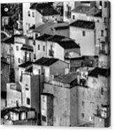 Casares Pueblo. Black And White Acrylic Print