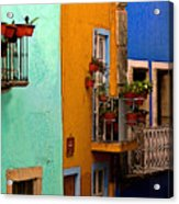 Casas In Mint Terracotta And Blue Acrylic Print