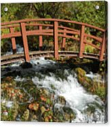 Cascade Springs With Bridge Acrylic Print