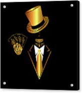 Casino Logo With Skull Icon And Cards, Gold And Black Color Acrylic Print