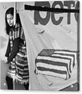 Casket On Banner Young Girl Anti Gulf War Rally Tucson Arizona 1991 Acrylic Print