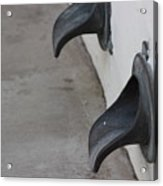 Cast Iron Rain Spouts In Stucco Building Photograph By Colleen Acrylic Print