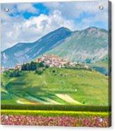Castelluccio Di Norcia With Beautiful Summer Fields Acrylic Print
