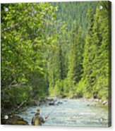 Casting To Cutthroats On The Oldman River Acrylic Print