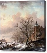 Castle In A Winter Landscape And Skaters On A Fozen River Acrylic Print