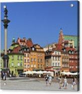 Castle Square And Sigismund's Column Warsaw Poland Acrylic Print