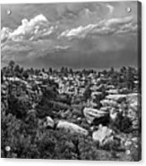Castlewood Canyon And Storm - Black And White Acrylic Print