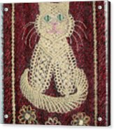 Cat And Flowers. Macrame Art Acrylic Print