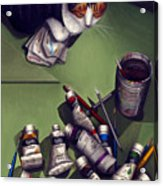 Cat And Paint Tubes Acrylic Print