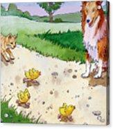 Cat Chasing Chicks Acrylic Print by Valer Ian