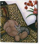 Cat Cheetah's Bed Acrylic Print by Carol Wilson