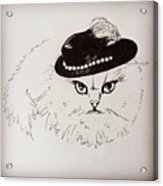 Snow White Wearing A Hat Acrylic Print