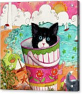Cat In A Pail Acrylic Print