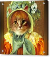 Cat In Bonnet Acrylic Print