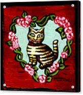 Cat In Heart Wreath 2 Acrylic Print