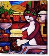 Cat In The Kitchen Bottling Fruit Acrylic Print