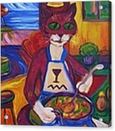 Cat In The Kitchen Making Soup Acrylic Print