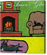 Cat n Dog by Fire Card Acrylic Print