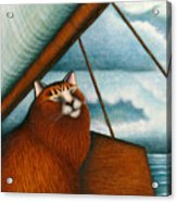 Cat On Sailboat Acrylic Print