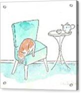 Cat On The Blue Chair Acrylic Print