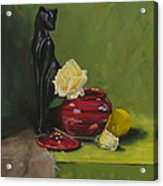 Cat With Rose Acrylic Print