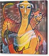 Cat With Woman Acrylic Print