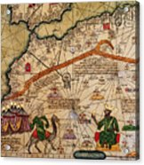 Catalan Map Of Europe And North Africa Charles V Of France In 1381  Acrylic Print by Abraham Cresques