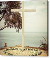 Catalina Island Cross Picture Retro Tone Acrylic Print