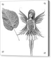 Catalpa Tree Fairy With Leaf B And W Acrylic Print
