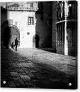 Catching Up On The News In Tarragona Spain Bw Acrylic Print