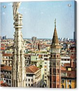 Cathedral And Campanile Milan Italy Acrylic Print