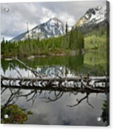 Cathedral Group Reflection On String Lake Acrylic Print