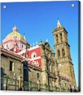 Cathedral In Puebla, Mexico Acrylic Print