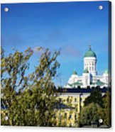 Cathedral Landmark And Central Helsinki View In Finland Acrylic Print
