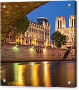 Cathedral Notre Dame And River Seine - Paris Acrylic Print