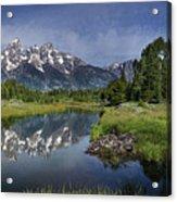 Grand Teton Cathedral Reflections Acrylic Print