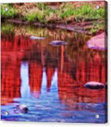 Cathedral Rock Reflection Painterly Acrylic Print