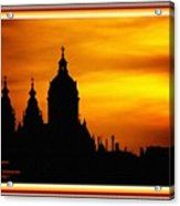 Cathedral Silhouette Sunset Fantasy L A With Alt. Decorative Ornate Printed Frame. Acrylic Print